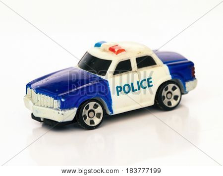macro of a toy police car