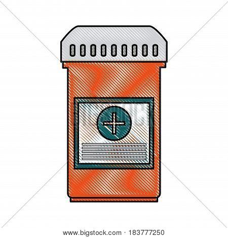 color blurred stripe of bottle with tap and pills vector illustration