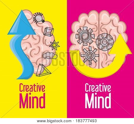 brain inspired in big ideas and knowledge, vector illustration