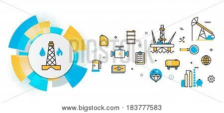 Flat line vector design concept of oil and gas production industry process petroleum product extraction valving well pump banner for website header and landing page in circles digital element
