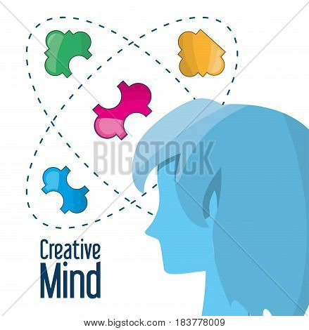 woman inpired in different ideas and knowledge, vector illustration