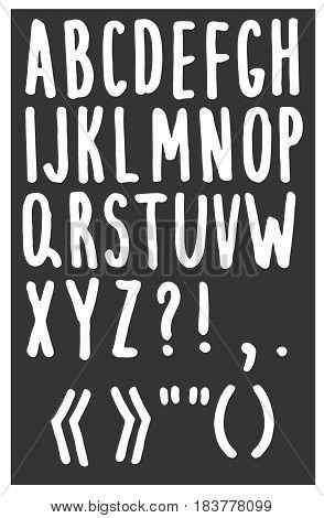 Vector hand drawn alphabet on gray background