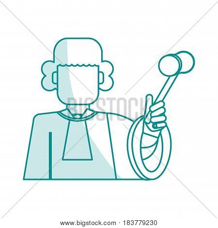 blue silhouette shading faceless man judge with a hammer vector illustration