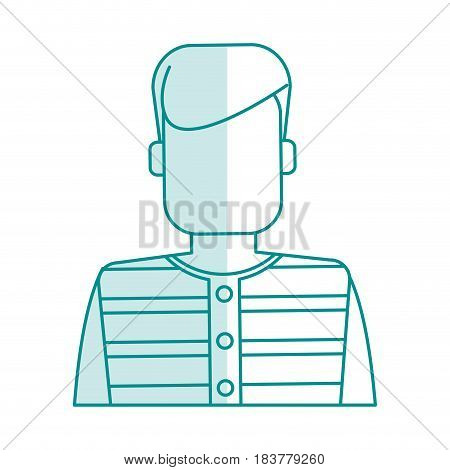blue silhouette shading faceless man prisoner with uniform vector illustration