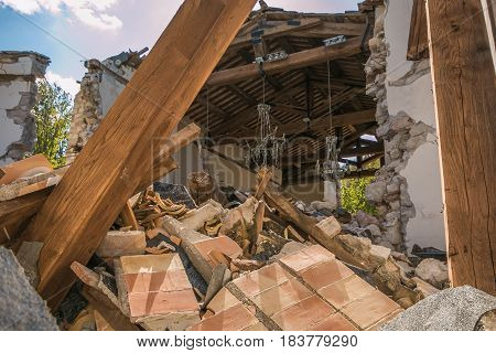 The interior of church damaged by earthquake in the Marche region