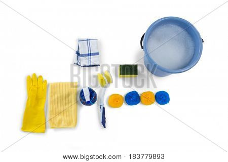 Overhead view of bucket and cleaning equipment against white background