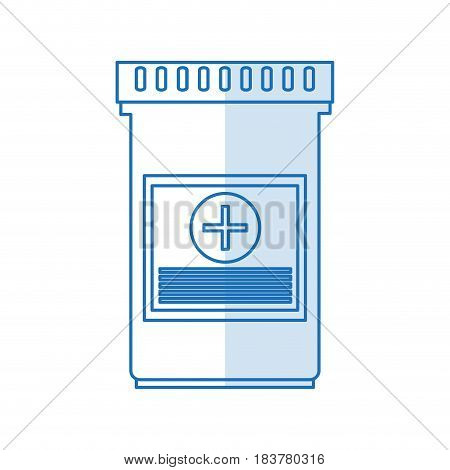 blue silhouette shading bottle with tap and pills vector illustration