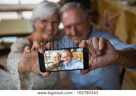 Happy senior couple taking selfie on mobile phone in cafe