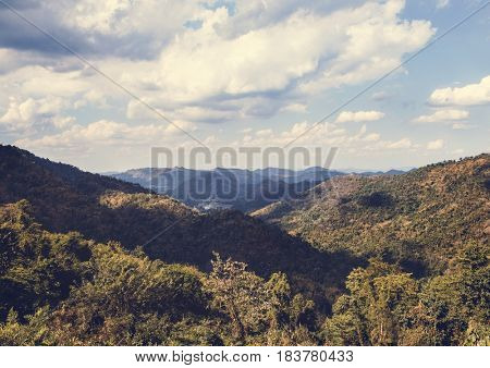 Cloudy Blue Sky Beautiful Scene with Mountain