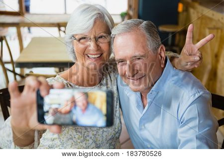 Happy senior couple taking selfie on mobile phone in café