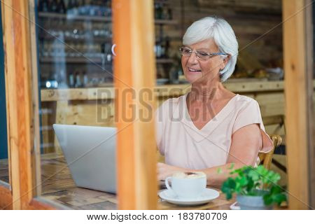 Senior woman talking on mobile phone while having coffee in cafe