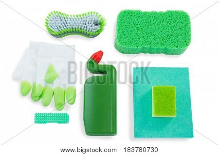 Overhead view of sponges with bottle and wipe pads against white background