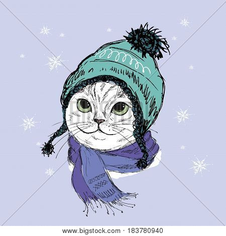 Hand drawn Fashion Portrait of Hipster Cat with hat and scarf, stock vector iilustration