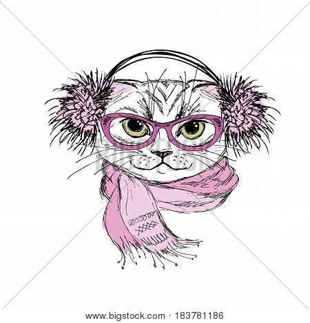 Portrait of a cat with scarf and glasses hipster, hand drawn isolated on white, vector illustration