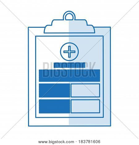 blue silhouette shading table notepad medical with sheets and text vector illustration