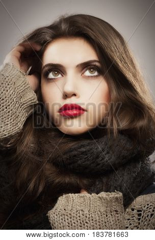 Portrait of a Beautiful Teenage Girl with Long Brown Hair