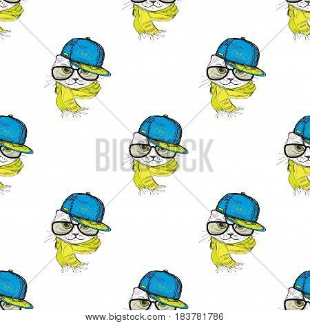 Seamless pattern Funny fashion cat in a cap, scarf and glasses. Hand drawn.Vector illustration
