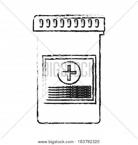 blurred silhouette bottle with tap and pills vector illustration