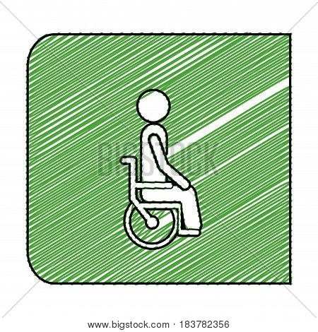 color pencil drawing square frame with pictogram person in wheelchair vector illustration