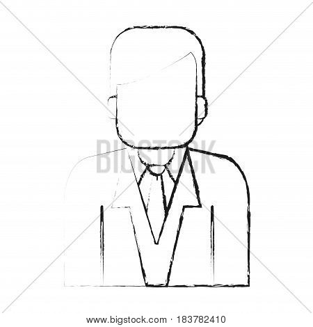 blurred silhouette half body faceless man with executive suit vector illustration