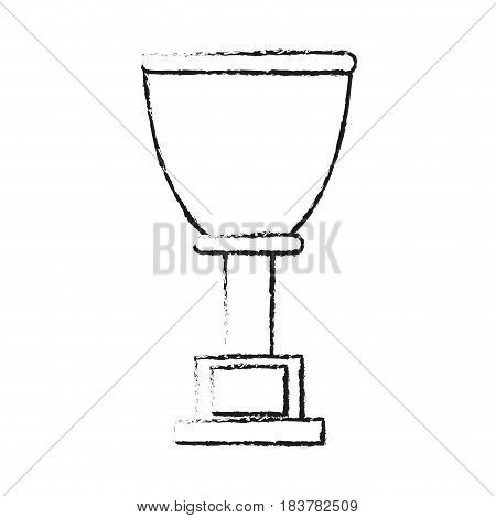 blurred silhouette cup trophy with plaque vector illustration