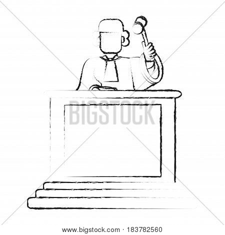 blurred silhouette faceless judge in law courts with hammer vector illustration