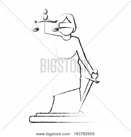 blurred silhouette goddess of justice symbol vector illustration