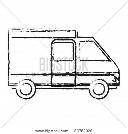 blurred silhouette truck vehicle of transport vector illustration