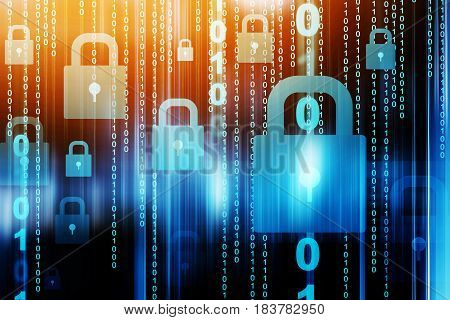 Cyber security concept,Network security with padlock on screen