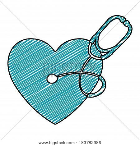 color pencil drawing of symbol of heart with stethoscope vector illustration