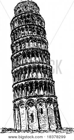 vector - Hand draw ancient tower in Piza