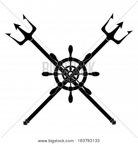 Trident devil fork icon vector illustration graphic design