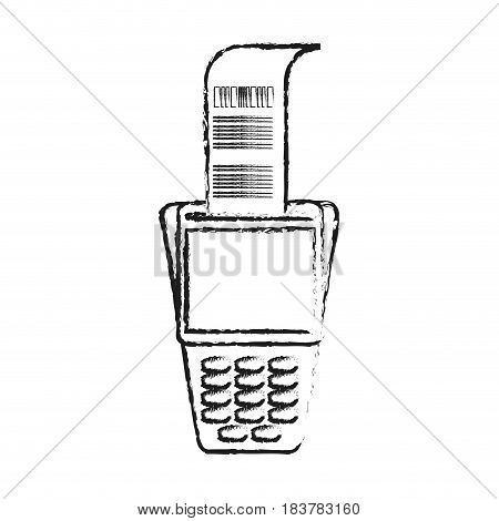 blurred silhouette dataphone with receipter paper vector illustration