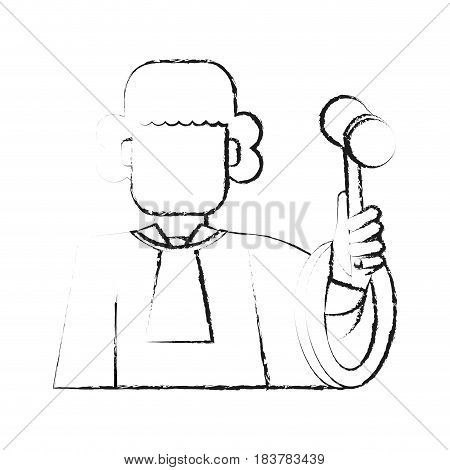 blurred silhouette faceless man judge with a hammer vector illustration