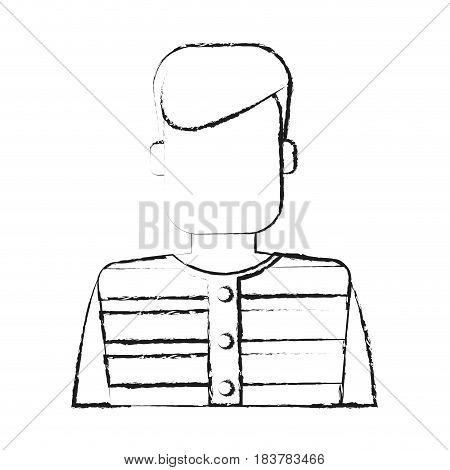 blurred silhouette faceless man prisoner with uniform vector illustration