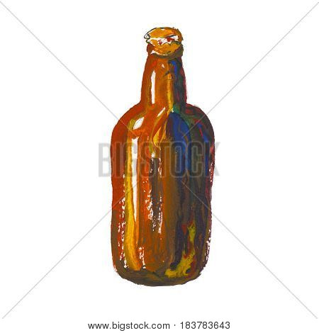 The beer bottle isolated on white background watercolor illustration in hand-drawn style.