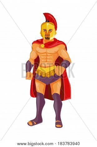 Strong and courageous Spartan warrior. Vector illustration