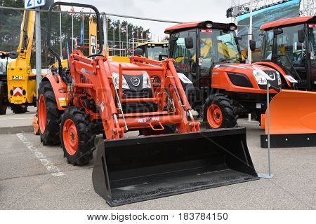 VILNIUS LITHUANIA - APRIL 27: Kioti KL4010 tractor on April 27 2017 in Vilnius Lithuania. Kioti Tractor s the trade name for Daedong tractors in North America and Europe.