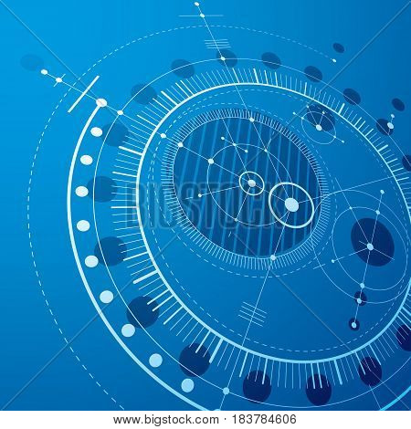 Three-dimensional mechanical scheme blue vector engineering drawing with circles and geometric parts of mechanism. Technical plan can be used in web design