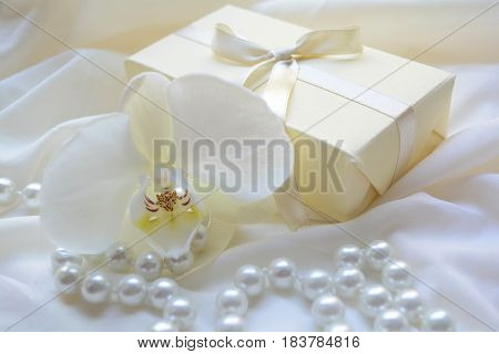 beautifully packaged gift for wedding , Orchid flower and beads