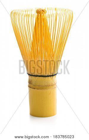 Bamboo whisk for matcha tea isolated on white background.
