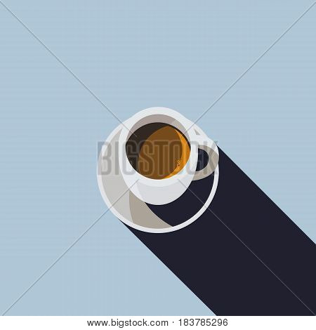 Cup of Coffee with Long Shadow Illustration