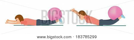 Young girl. Sportswoman. Exercise with fit ball. Flat vector illustration