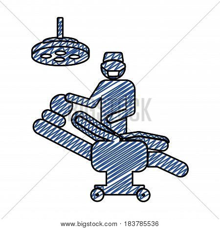 color pencil drawing of pictogram person with surgeon vector illustration