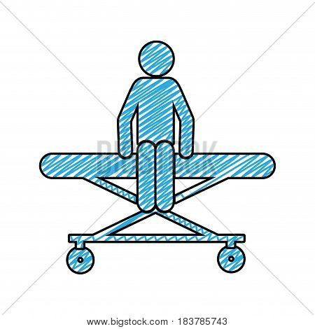 color pencil drawing of pictogram patient sit in stretcher clinical vector illustration