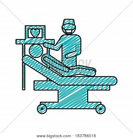 color pencil drawing of pictogram person with cardiologist vector illustration