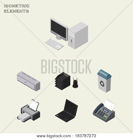 Isometric Business Set Of Garbage Container, Laptop, Computer And Other Vector Objects. Also Includes Telephone, Computer, Air Elements.