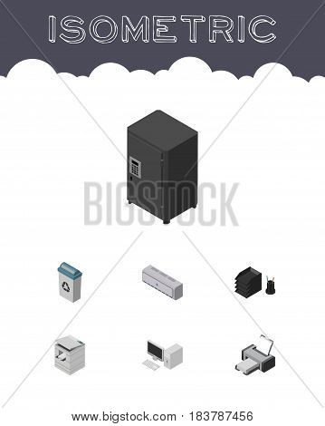 Isometric Business Set Of Garbage Container, Wall Cooler, Computer And Other Vector Objects. Also Includes Bin, Cooler, Strongbox Elements.