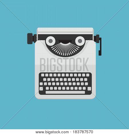 White Vintage Typewriter. Flat Design of Typewriter Illustration