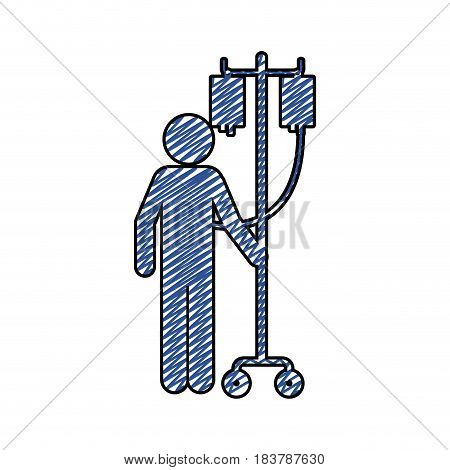 color pencil drawing of pictogram person hospitalized icon flat vector illustration